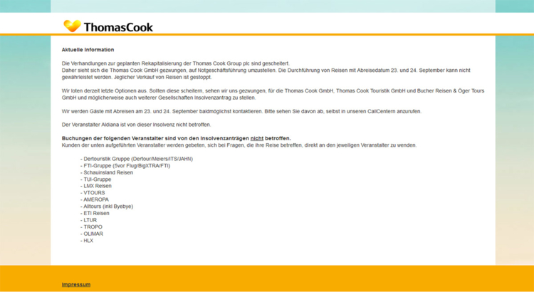 Thomas Cook Website nach Insolvenz